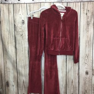 Hollister Red Zip Up Hoodie And Pant Set